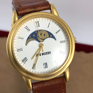 Vintage Rare Joe Boxer Moonphase Gold Tone Watch